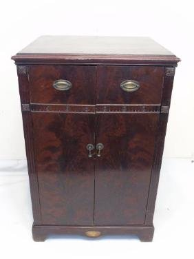 C 1920 Carved Mahogany Chest of Drawers / Cupboard