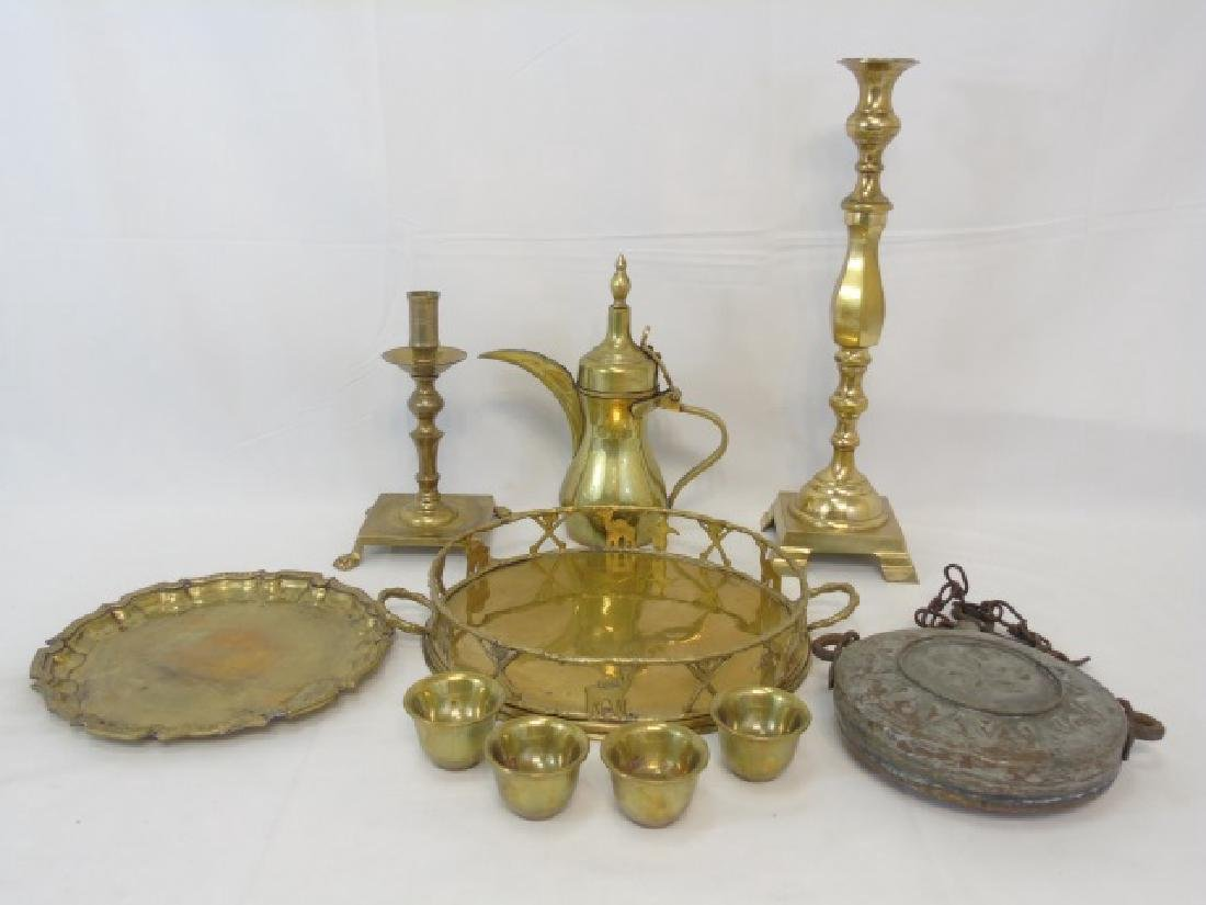Large Group of Vintage Brass Serving & Table Items