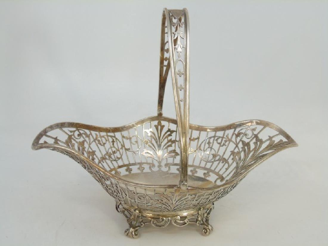 Large English Sterling Silver Reticulated Basket