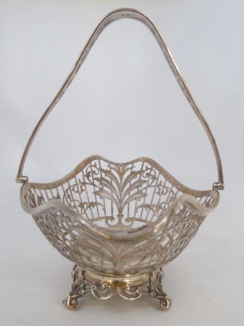 Large English Sterling Silver Reticulated Basket - 2