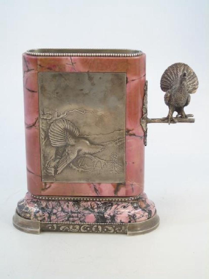 Russian Silver Mounted Rhodonite Figural Vase