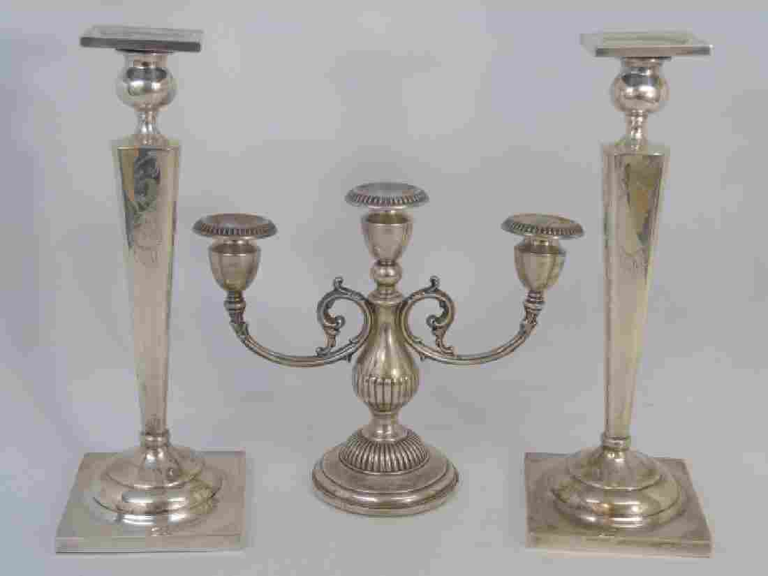 Sterling Silver Pair of Candlesticks & Candelabra