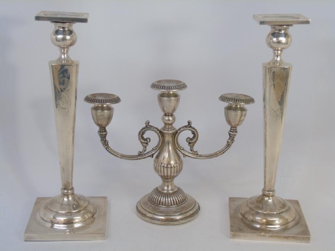 Sterling Silver Pair of Candlesticks & Candelabra
