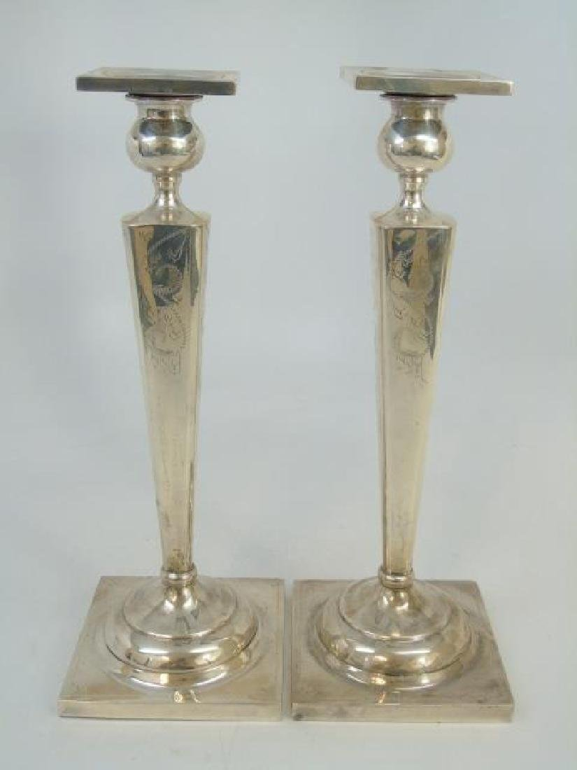 Sterling Silver Pair of Candlesticks & Candelabra - 3