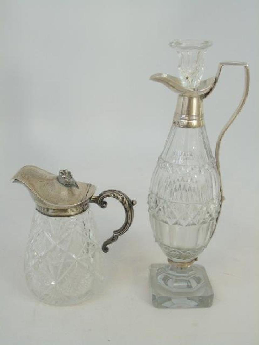 Two Antique Sterling Silver & Cut Crystal Pitchers