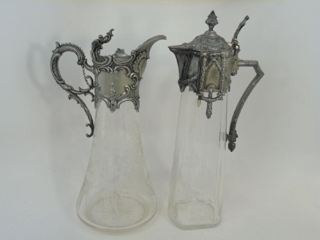 Two Antique Silver Plated French Claret Pitchers