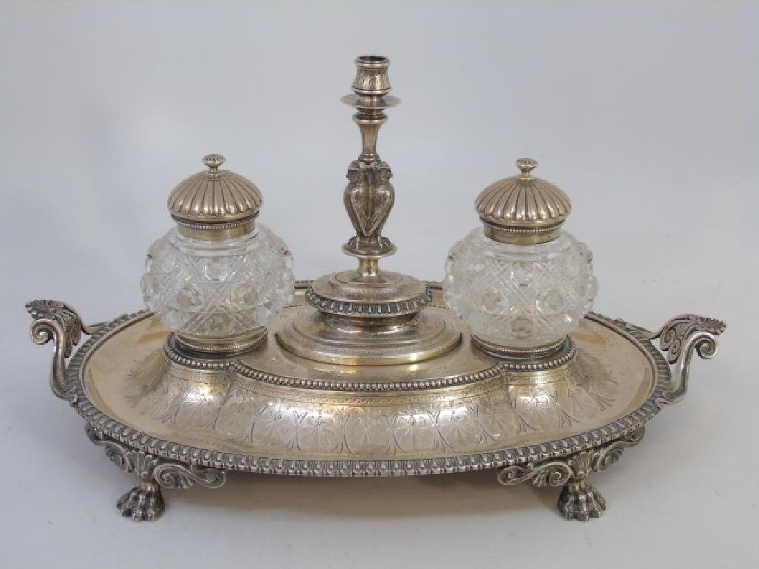 Antique English Sterling Silver Double Inkwell