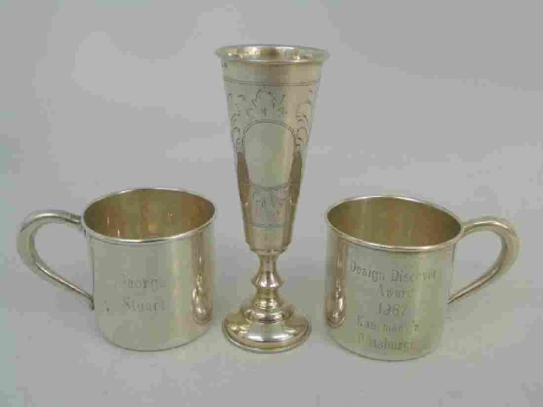 Two Sterling Silver Baby Cups & Silver Kiddush Cup