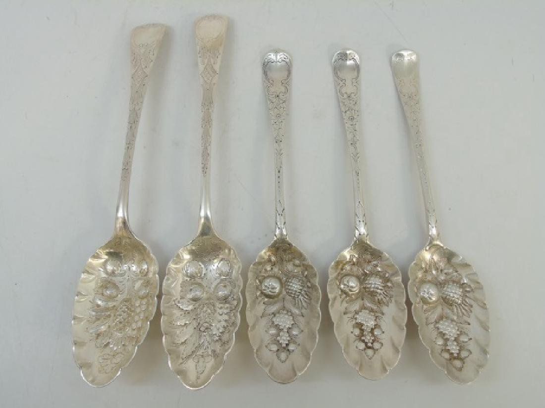 Five Sterling & Silver Plate Repousse Fruit Spoons
