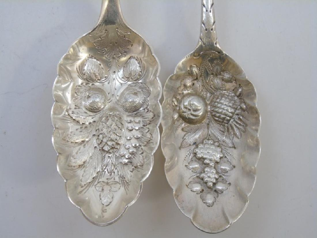 Five Sterling & Silver Plate Repousse Fruit Spoons - 2