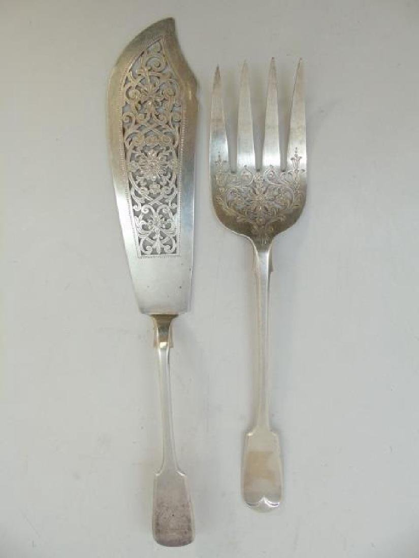 Antique English Sterling Silver Fish Serving Set