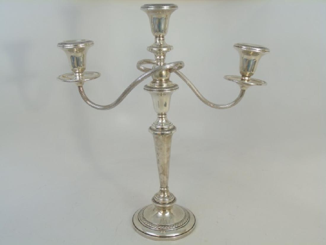 Sterling Silver Swirl-Design Triple Candelabra