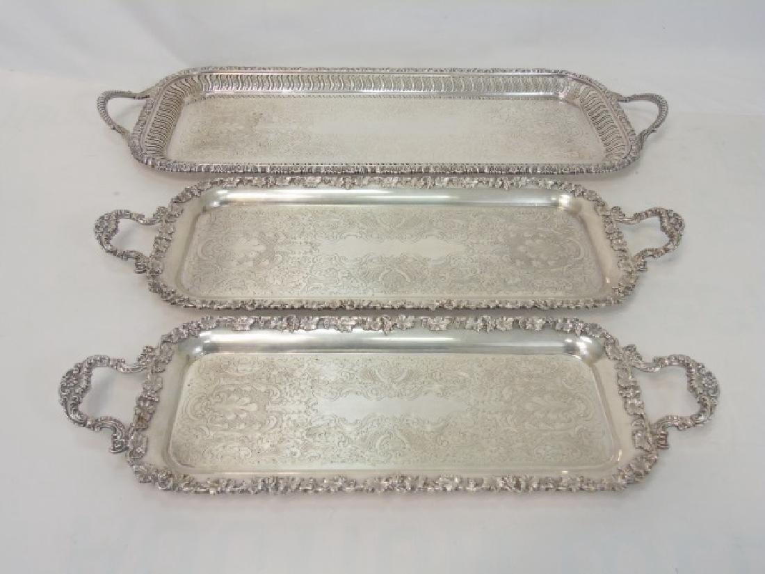 Set of 3 English Silver Plate Rectangular Trays