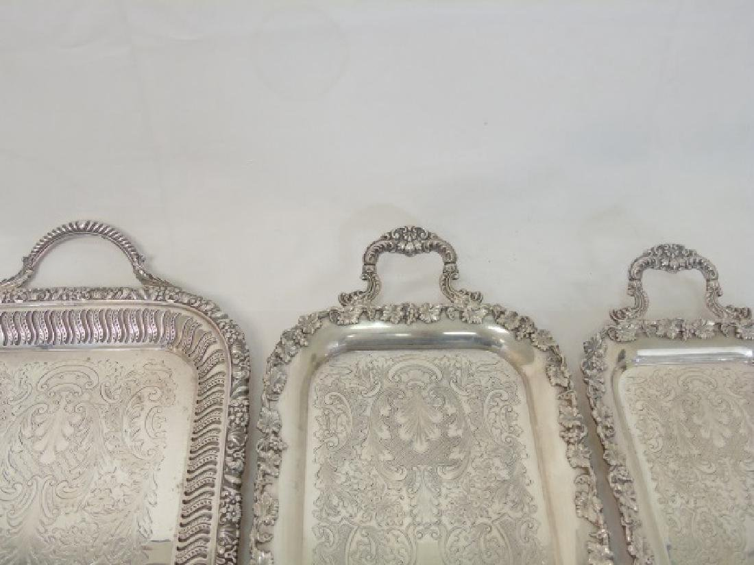 Set of 3 English Silver Plate Rectangular Trays - 2
