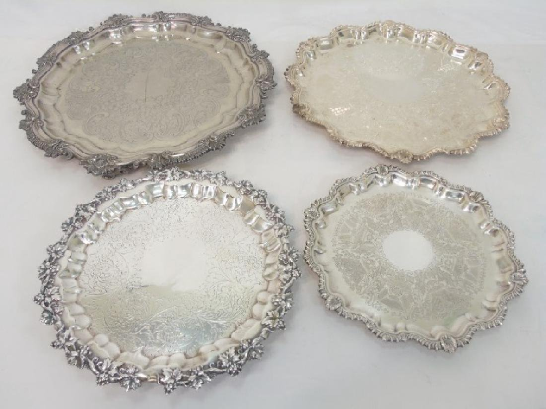 Set of 4 English Silver Plate Round Serving Trays