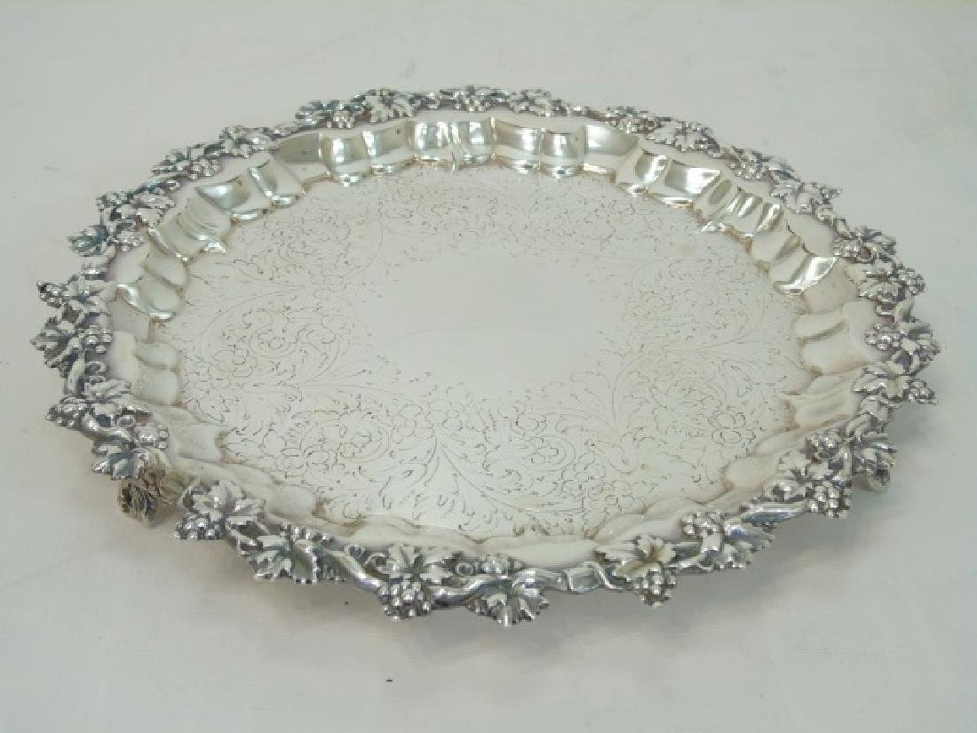 Set of 4 English Silver Plate Round Serving Trays - 2