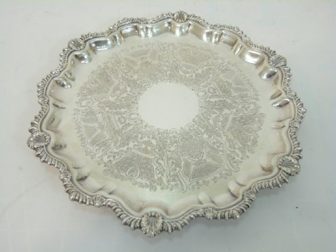 Set of 4 English Silver Plate Round Serving Trays - 3