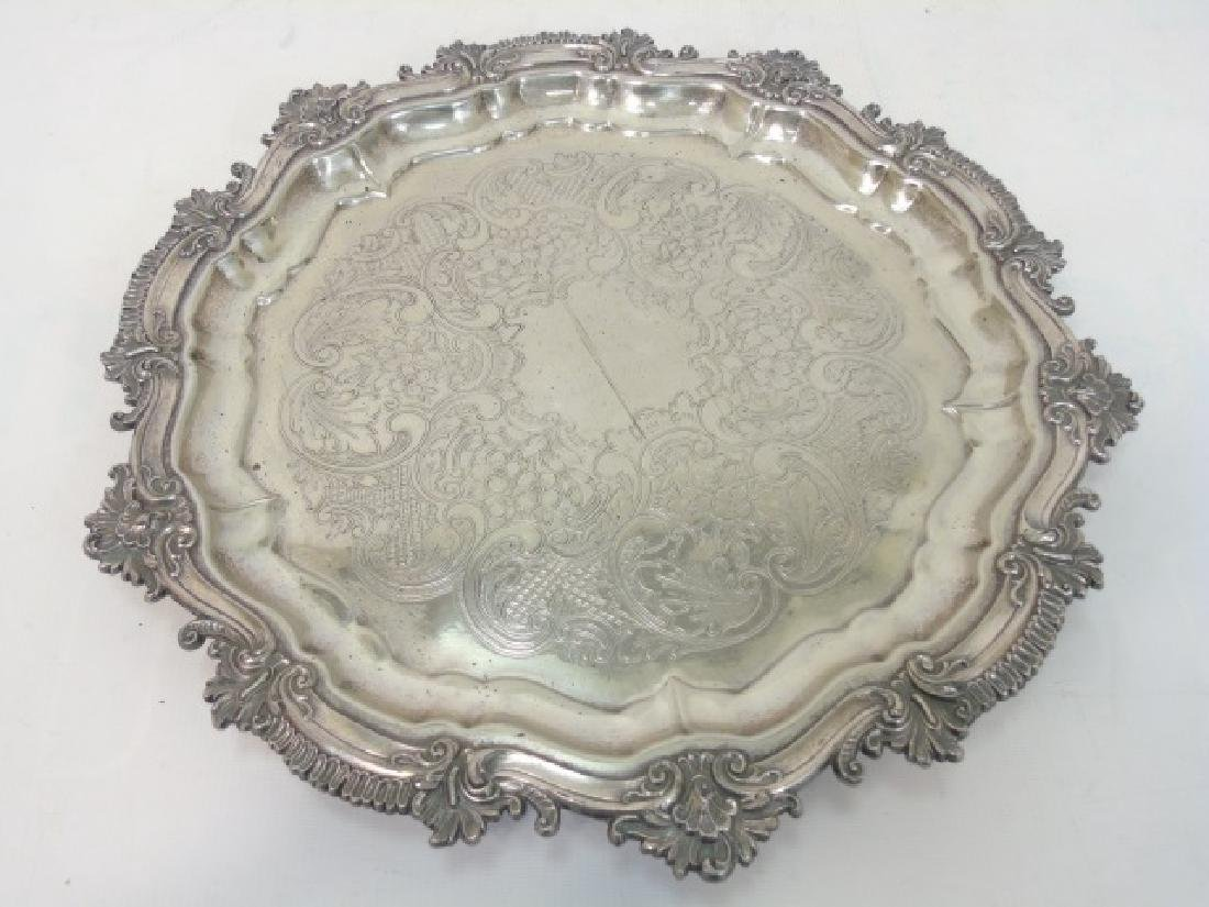 Set of 4 English Silver Plate Round Serving Trays - 5