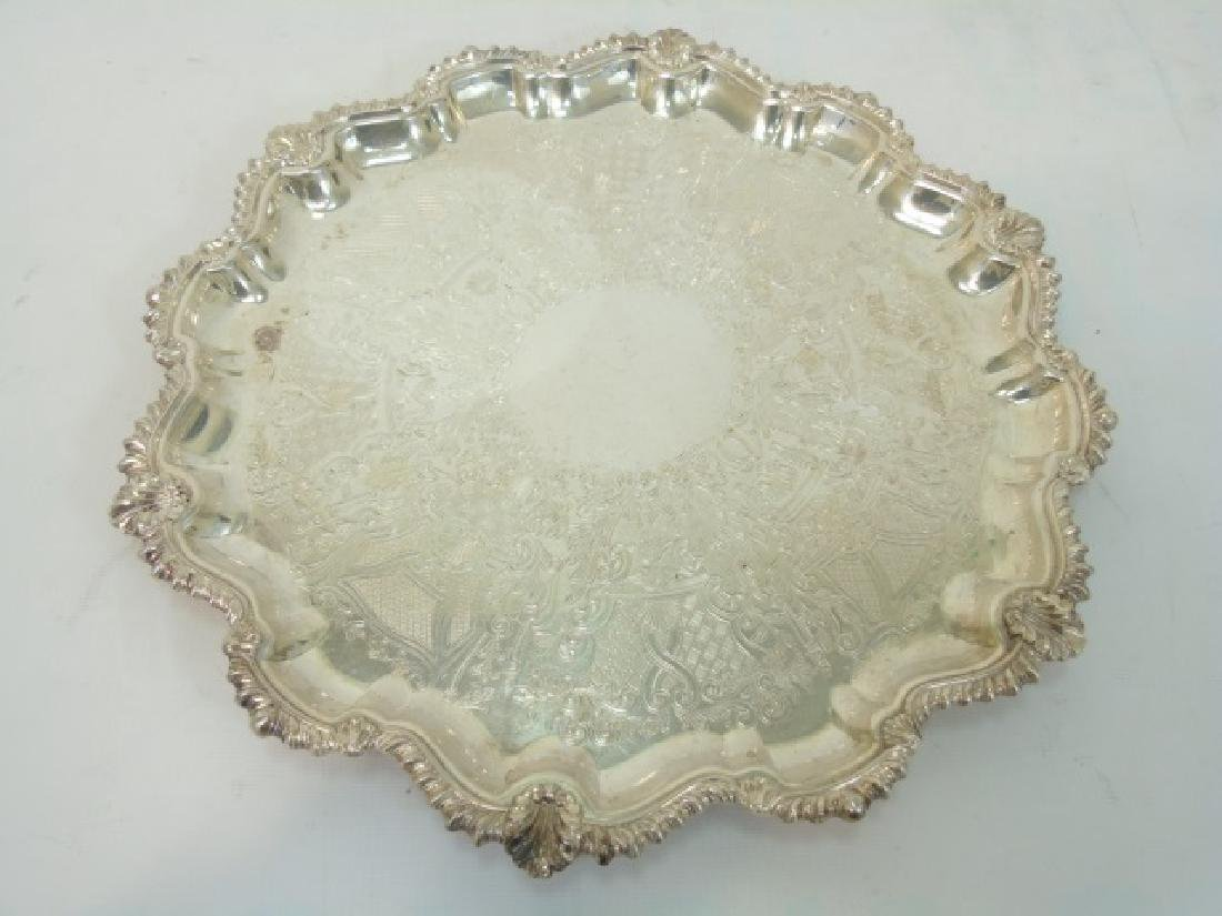 Set of 4 English Silver Plate Round Serving Trays - 7