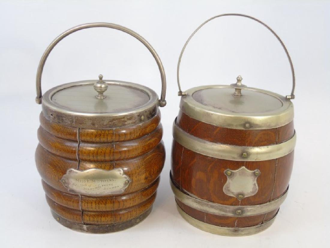 Antique English Wood Silver Plate Biscuit Barrels