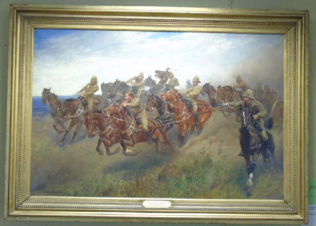 John Charlton Oil on Canvas Cavalry Charge Boers