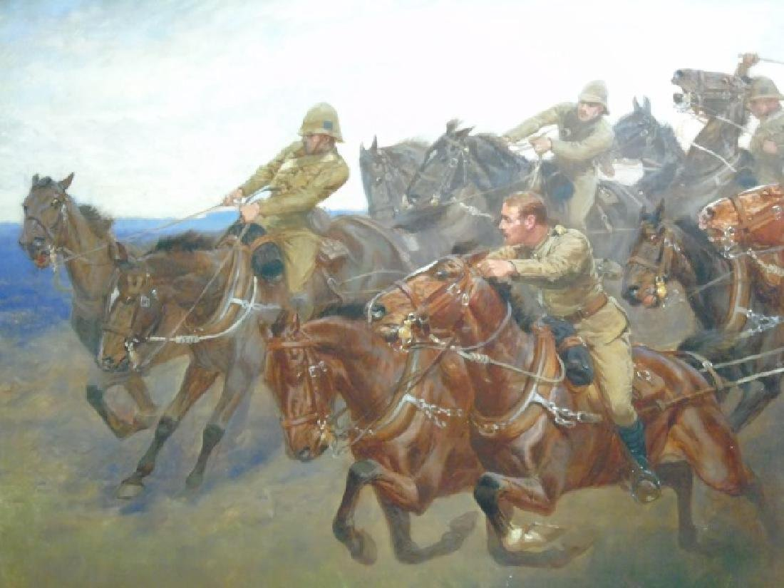 John Charlton Oil on Canvas Cavalry Charge Boers - 3