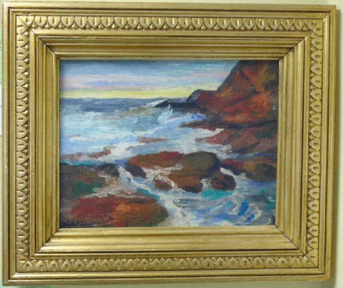Emile Albert Gruppe Oil on Canvas Rocky Coastline