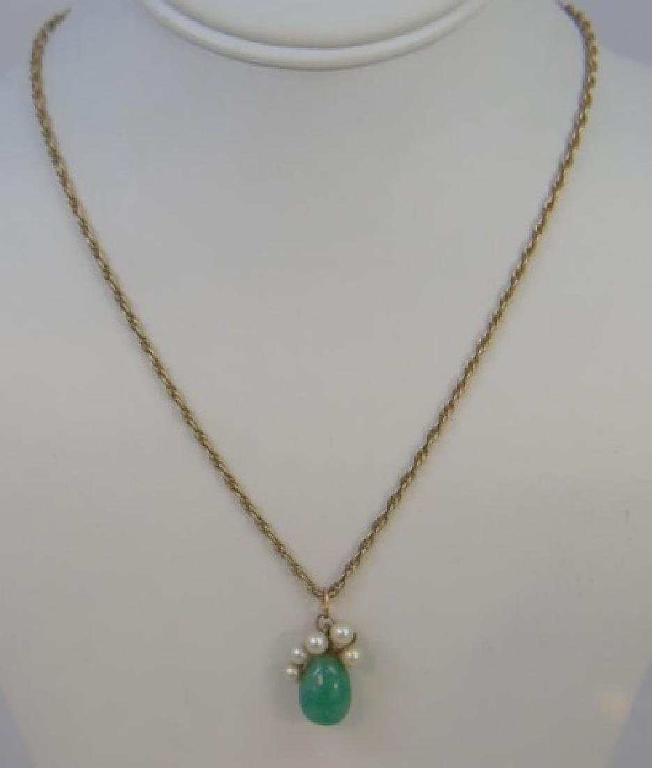 Estate 14kt Yellow Gold Jade & Pearl Pendant