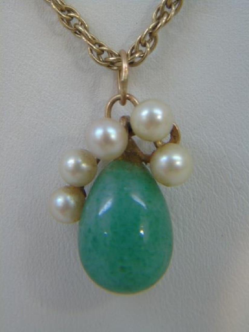 Estate 14kt Yellow Gold Jade & Pearl Pendant - 2