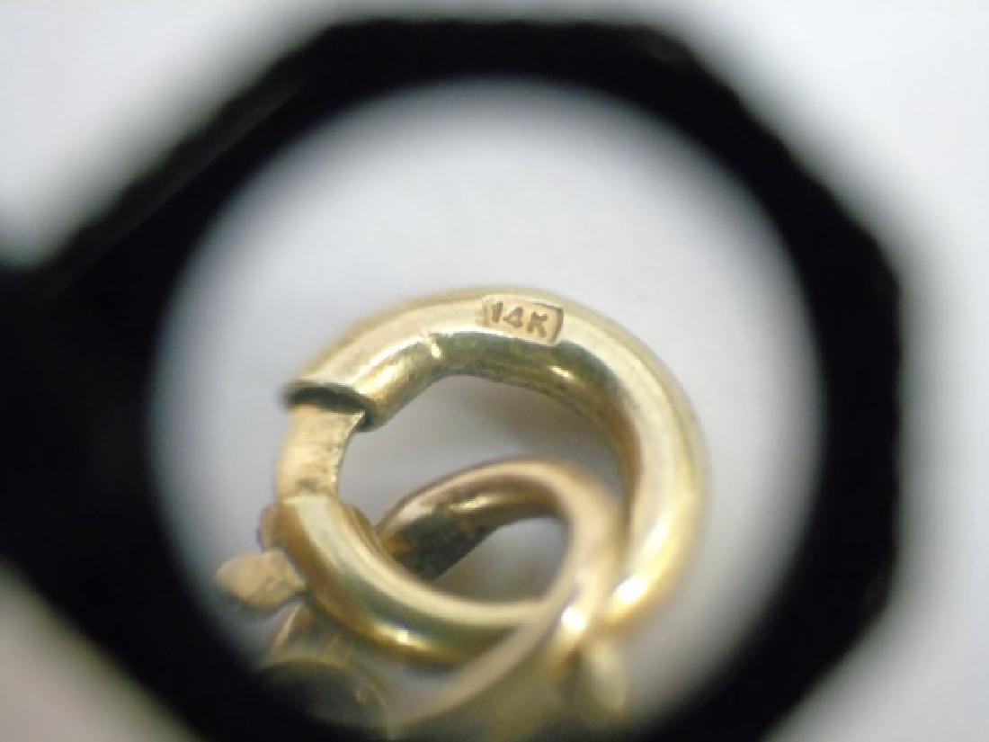 Estate 14kt Yellow Gold Jade & Pearl Pendant - 3