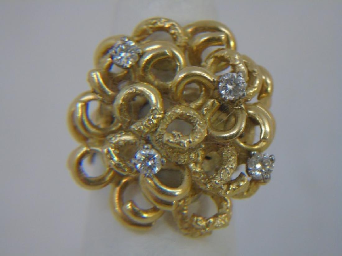 Estate Custom Made Diamond & 18kt Gold Ring