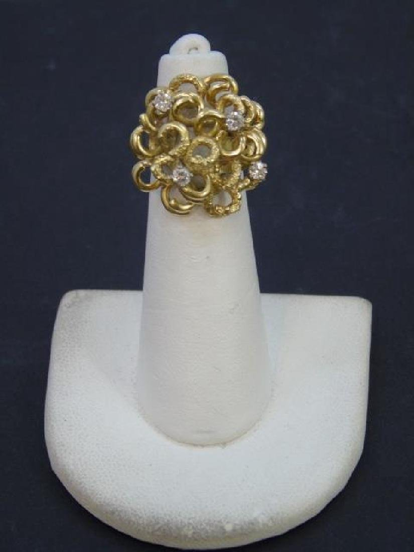 Estate Custom Made Diamond & 18kt Gold Ring - 2