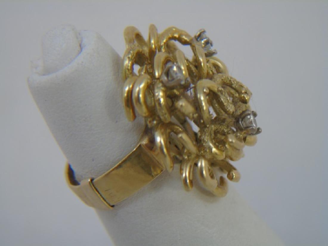 Estate Custom Made Diamond & 18kt Gold Ring - 4