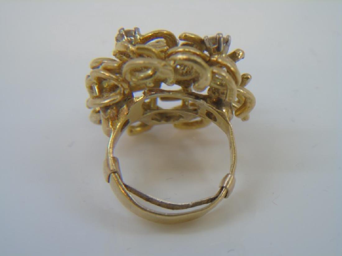Estate Custom Made Diamond & 18kt Gold Ring - 5
