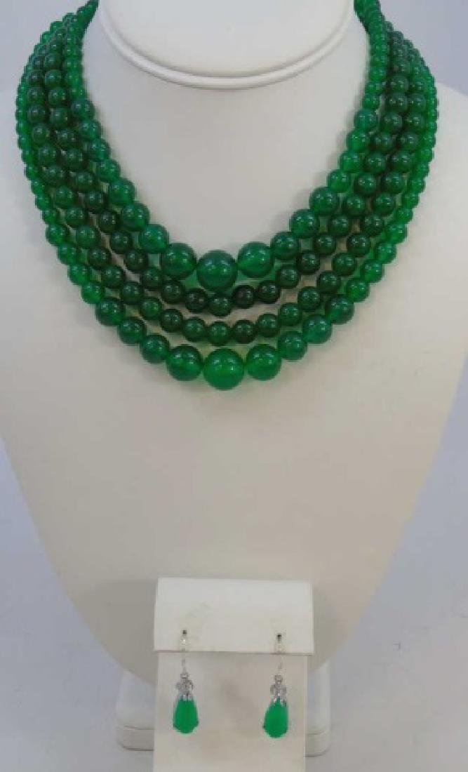 Four Chinese Green Jade Necklace & Pair Earrings
