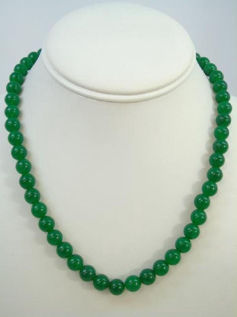 Four Chinese Green Jade Necklace & Pair Earrings - 2