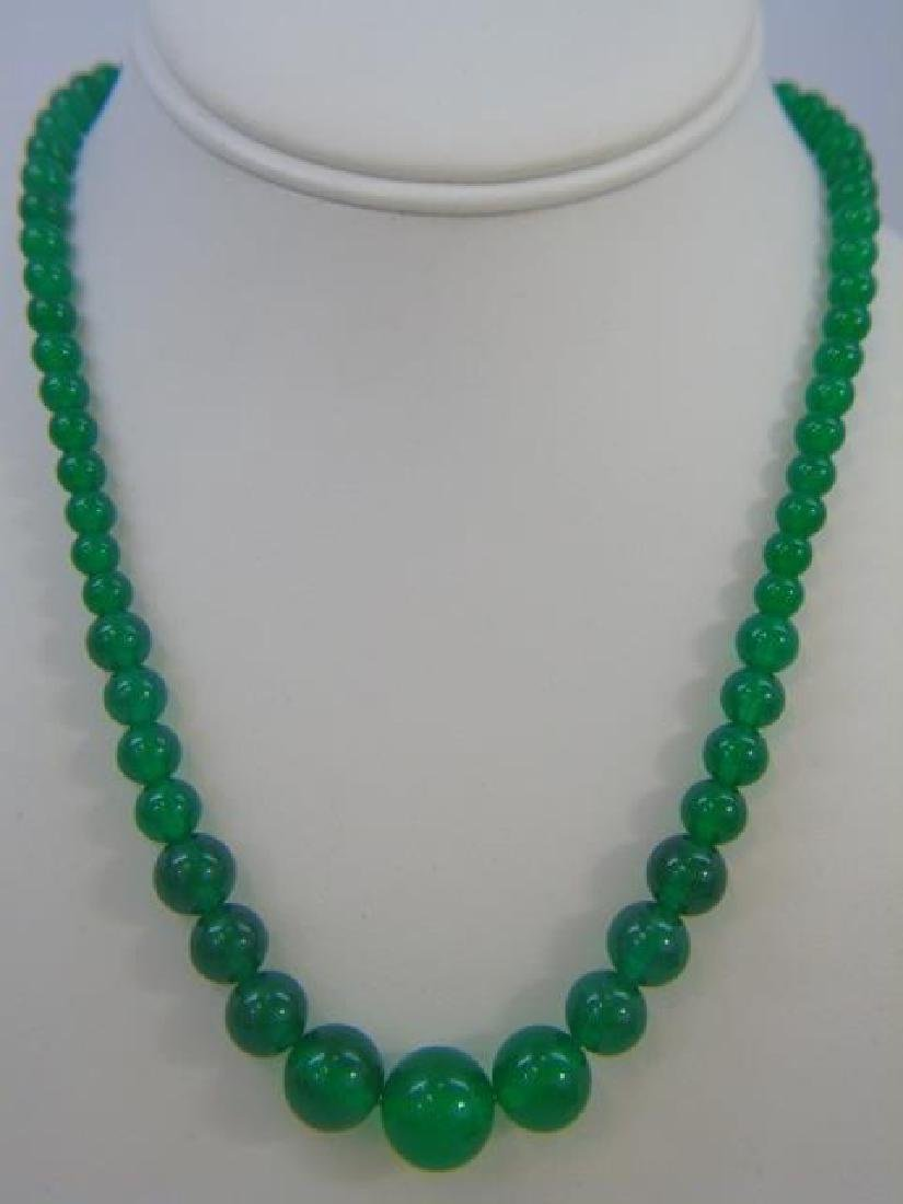Four Chinese Green Jade Necklace & Pair Earrings - 3