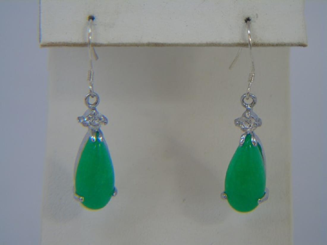 Four Chinese Green Jade Necklace & Pair Earrings - 4