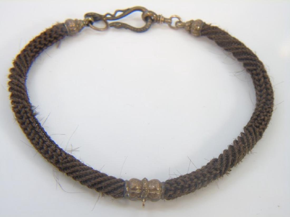 Antique 19th C Victorian Mourning Hair Gold Snake