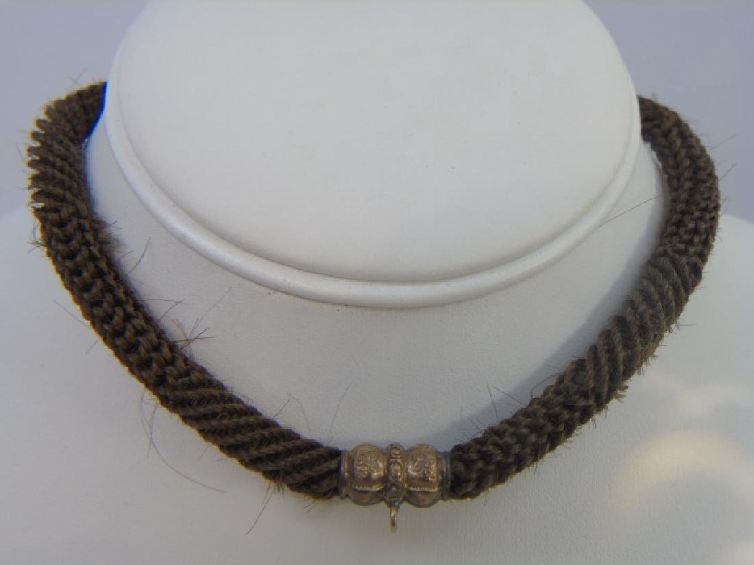 Antique 19th C Victorian Mourning Hair Gold Snake - 2