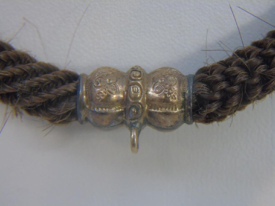 Antique 19th C Victorian Mourning Hair Gold Snake - 3