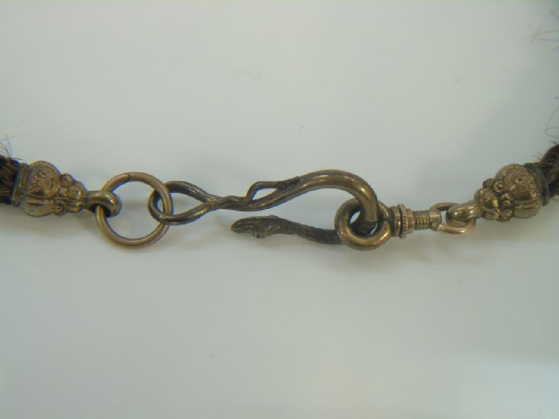 Antique 19th C Victorian Mourning Hair Gold Snake - 4