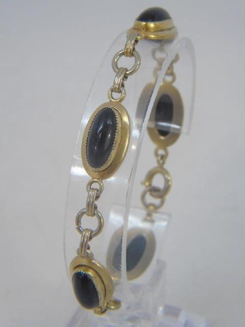 Antique Cabochon Black Onyx Gold Filled Bracelet