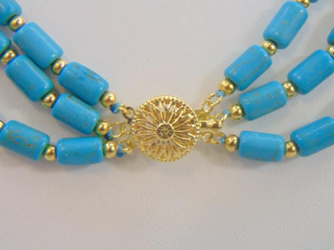 Contemporary Turquoise Triple Strand Necklace - 2