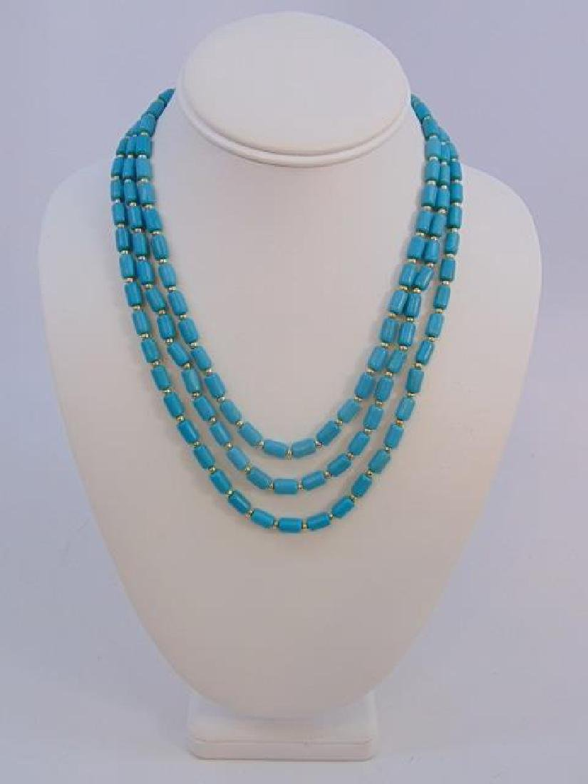 Contemporary Turquoise Triple Strand Necklace - 3