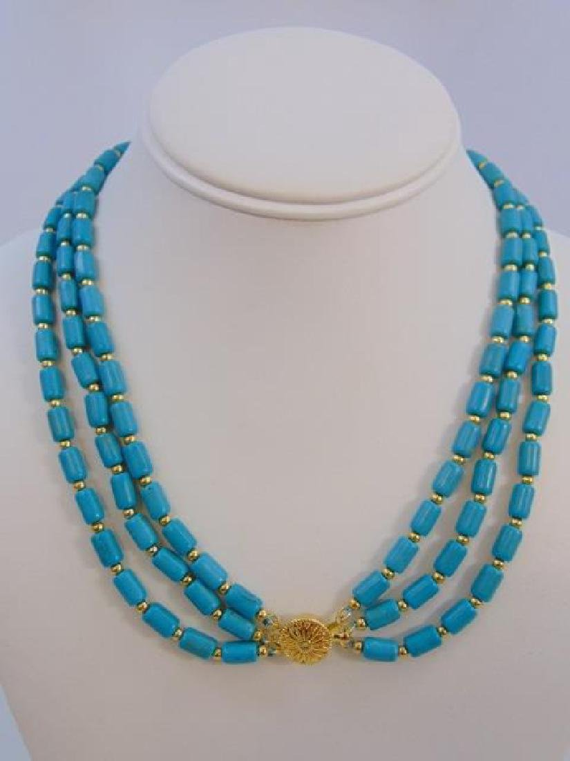 Contemporary Turquoise Triple Strand Necklace - 4
