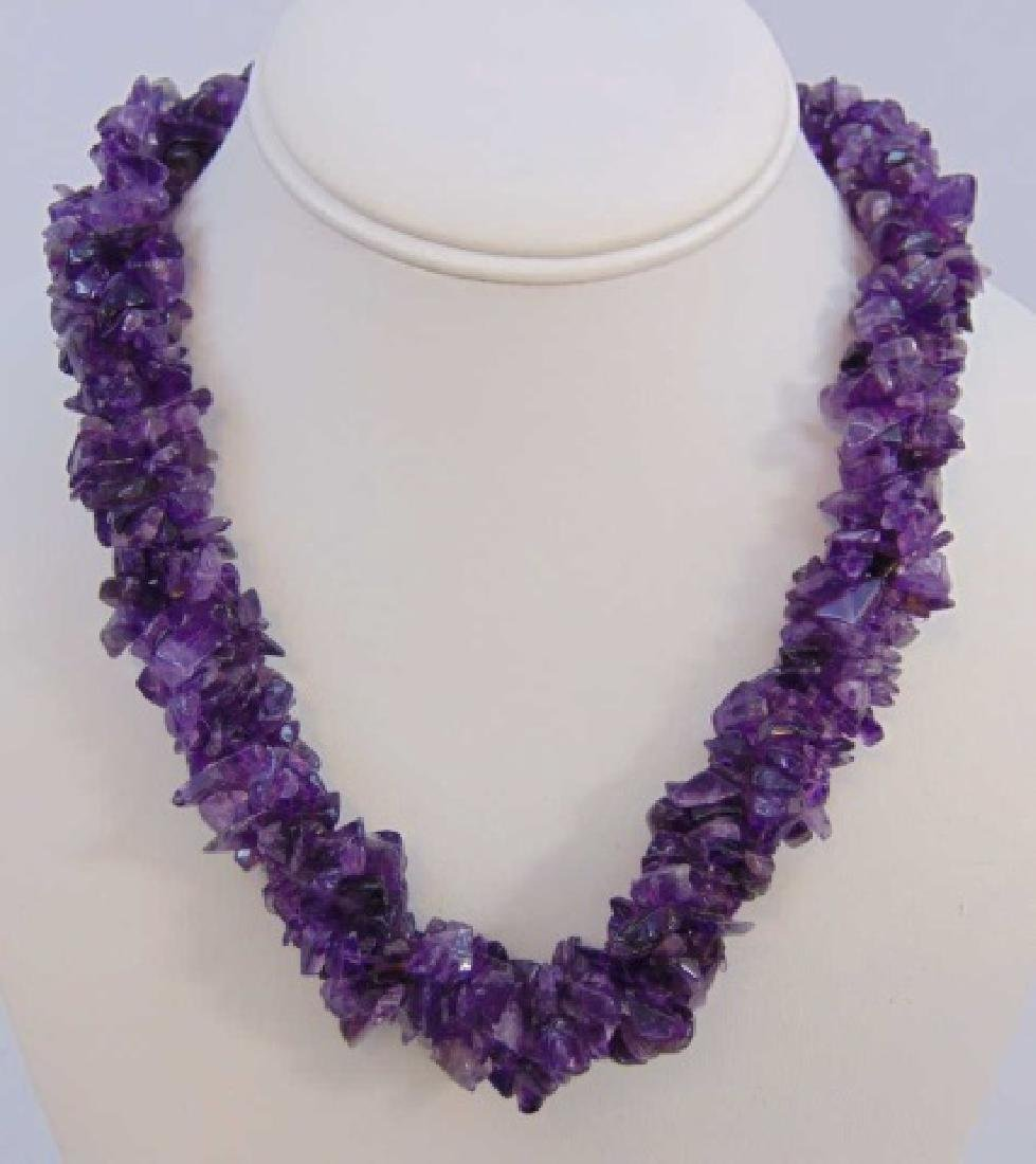 Contemporary Four Strand Tumbled Amethyst Necklace