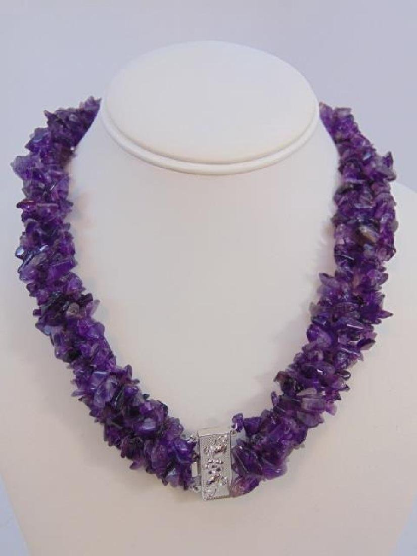 Contemporary Four Strand Tumbled Amethyst Necklace - 3