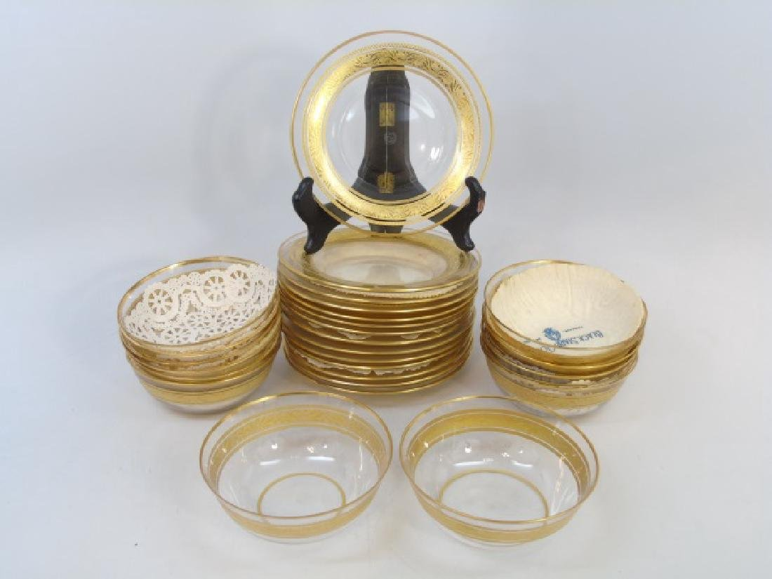 Set of 14 Gilt Decorated Baccarat Bowls & Plates
