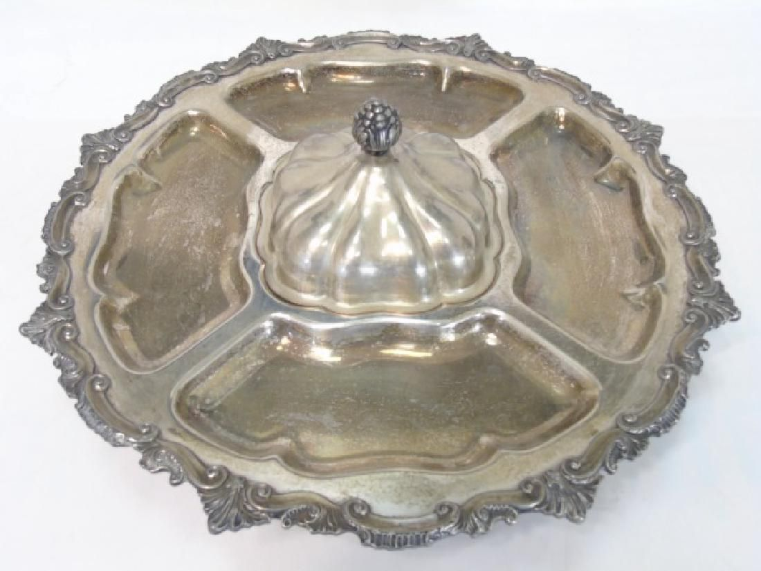 Large Silverplate Sectioned Rotating Serving Dish